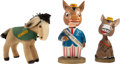 Political:3D & Other Display (1896-present), John F. Kennedy: Two Bobble Head Dolls And Campaign Donkey....