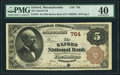 National Bank Notes:Massachusetts, Oxford, MA - $5 1882 Brown Back Fr. 467 The Oxford National Bank Ch. # 764 PMG Extremely Fine 40.. ...