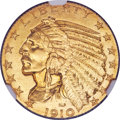 Proof Indian Half Eagles, 1910 $5 PR68+ NGC. JD-1, R.4. The mintage of the 1...