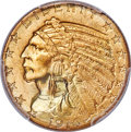 Indian Half Eagles, 1914-S $5 MS65 PCGS. This Gem half eagle is one of...