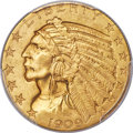 Indian Half Eagles, 1909-O $5 MS64+ PCGS. Variety 1. Ex: Simpson. The ...