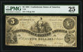 Confederate Notes:1861 Issues, T36 $5 1861 PF-1 Cr. 272 PMG Very Fine 25.. ...