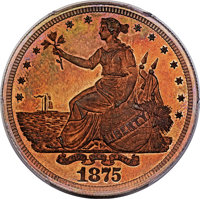 1875 T$1 Commercial Dollar, Judd-1424, Pollock-1567, Low R.7, PR67 Red and Brown PCGS. CAC....(PCGS# 71731)