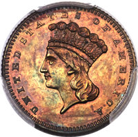 1870 G$1 Gold Dollar, Judd-1023, Pollock-1158, R.7, PR62 Red and Brown PCGS....(PCGS# 71271)