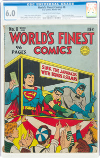 World's Finest Comics #8 (DC, 1942) CGC FN 6.0 Cream to off-white pages