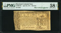 Colonial Notes:Maryland, Maryland April 10, 1774 $2/3 Fr. MD-65 PMG Choice About Uncirculated 58 Net.. ...
