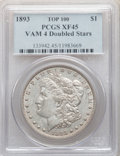 Morgan Dollars, 1893 $1 Doubled Stars, VAM-4, XF45 PCGS. A Top 100 Variety. PCGS Population: (28/67). NGC Census: (26/60). XF45....