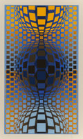 Prints & Multiples, Victor Vasarely (1906-1997). Three Spheres, circa 1970. Screenprint in colors on wove paper. 24-1/4 x 14 inches (61.6 x ...