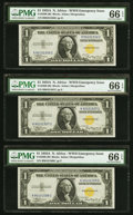 Small Size:World War II Emergency Notes, Fr. 2306 $1 1935A North Africa Silver Certificates. Three Consecutive Examples. PMG Gem Uncirculated 66 EPQ.. ... (Total: 3 notes)