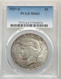 Peace Dollars: , 1927-S $1 MS63 PCGS. PCGS Population: (2166/1683). NGC Census: (1100/1113). CDN: $415 Whsle. Bid for NGC/PCGS MS63. Mintage...