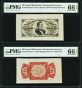 Fractional Currency:Third Issue, Fr. 1291SP 25¢ Third Issue Wide Margin Specimen Pair PMG Gem Uncirculated 66 EPQ.. ... (Total: 2 notes)