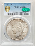 Peace Dollars: , 1927-S $1 MS64+ PCGS. CAC. PCGS Population: (1587/96 and 165/12+). NGC Census: (1035/78 and 43/1+). CDN: $750 Whsle. Bid fo...