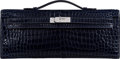Luxury Accessories:Accessories, Hermès Shiny Blue Marine Porosus Crocodile Kelly Cut Clutch with Palladium Hardware. R Square, 2014. Condition: 2. ...