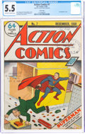 Golden Age (1938-1955):Superhero, Action Comics #7 Court Copy (DC, 1938) CGC FN- 5.5 Off-white to white pages....