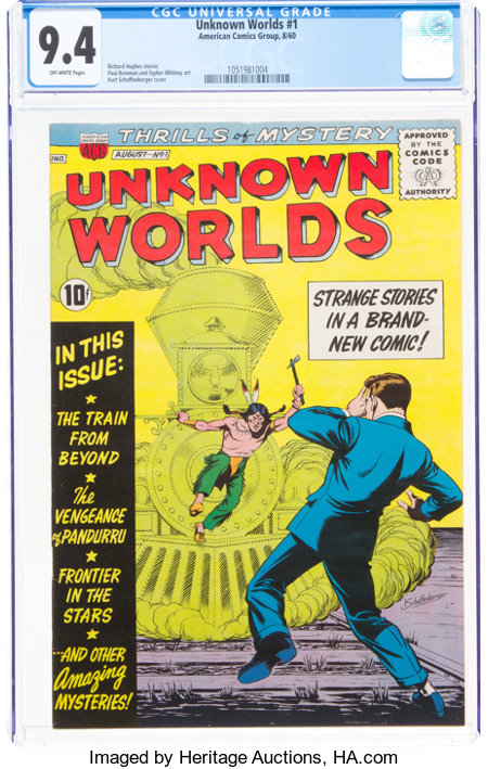 Unknown Worlds #1 (ACG, 1960) CGC NM 9.4 Off-white pages....
