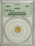 California Fractional Gold, 1881 50C Indian Octagonal 50 Cents, BG-952B MS62 PCGS. Certified byPCGS as a BG-957a. PCGS Population (3/26). NGC Census: ...