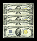Small Size:World War II Emergency Notes, Fr. 2309 $10 1934A North Africa Silver Certificates. About Uncirculated.. ... (Total: 5 notes)