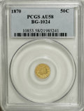 California Fractional Gold: , 1870 50C Liberty Round 50 Cents, BG-1024, Low R.4, AU58 PCGS. PCGSPopulation (17/85). NGC Census: (1/11). (#10853)...