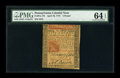 Colonial Notes:Pennsylvania, Pennsylvania April 10, 1775 L5 PMG Choice Uncirculated 64 EPQ....