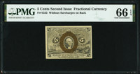 Fr. 1232 5¢ Second Issue PMG Gem Uncirculated 66 EPQ
