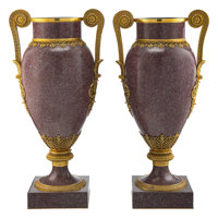 A Pair of Monumental French Empire-Style Porphyry Urns with Bronze Mounts 39 x 19-1/2 x 15 inches (99.1 x 49.5 x 3... (T...