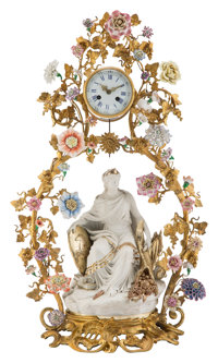 A French Louis XV-Style Gilt Bronze and Porcelain Clock with Seated Figure 29-1/2 x 18 x 11 inches (74.9 x 45.7 x