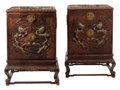 Furniture, A Pair of Chinese Hardstone Set Carved Wood Cabinets. 42 x 30-1/2 x 30-1/2 inches (106.7 x 77.5 x 77.5 cm) (each). ... (Total: 2 Items)