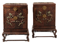 A Pair of Chinese Hardstone Set Carved Wood Cabinets 42 x 30-1/2 x 30-1/2 inches (106.7 x 77.5 x 77.5 cm) (each)