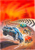 Video Games:Video Game Art, Greg Winters Burning Road Playstation Video Game Box Cover Painting Color Composition Original Art (Playmates Inte...