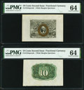 Fractional Currency:Second Issue, Fr. 1244SP 10¢ Second Issue Wide Margin Specimen Pair PMG Choice Uncirculated 64.. ... (Total: 2 notes)