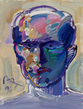 Works on Paper, Peter Max (American, b. 1937). Portrait of a Man, 1996. Acrylic on paper. 30 x 22-1/4 inches (76.2 x 56.5 cm). Signed an...