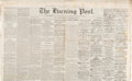 Miscellaneous:Newspaper, NY Evening Post: December 19, 1865 Slavery Abolished....