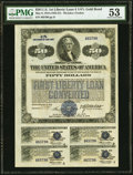 Miscellaneous:Other, First Liberty Loan Converted 4 1/4% Gold Bond of 1932-37 $50 May 9, 1918 PMG About Uncirculated 53.. ...