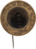 Political:Ferrotypes / Photo Badges (pre-1896), Abraham Lincoln: 1864-Dated Ferrotype Badge....