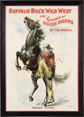 """Western Expansion:Cowboy, William F. """"Buffalo Bill"""" Cody: Large Wild West Show Poster...."""