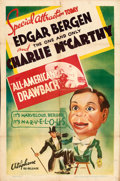 """Movie Posters:Comedy, Edgar Bergen and Charlie McCarthy (Warner Bros. - Vitagraph, R-1937). Fine- on Kraft Paper. Stock One Sheet (27"""" X 41"""") """"All..."""