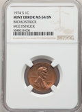 Errors, 1974-S 1C Lincoln Cent -- Broadstruck, Multistruck -- MS64 Brown NGC....
