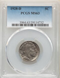 Buffalo Nickels, 1928-D 5C MS63 PCGS. PCGS Population: (605/2065). NGC Census: (375/1066). CDN: $80 Whsle. Bid for NGC/PCGS MS63. Mintage 6,...