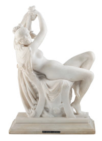 Frederick Etienne Leroux (French, 1836-1906) Nude Female Reclining in a Chair, circa 1867 Marble
