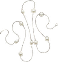 Diamond, Cultured Pearl, White Gold Necklace, Adler