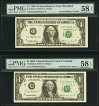 Inverted Back Error Fr. 1921-D $1 1995 Federal Reserve Notes. Two Consecutive Examples. PMG Choice About Unc 58 EPQ.&...