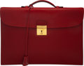 """Luxury Accessories:Bags, Hermès Rouge H Calf Box Leather Quirius Sac a Depeche Briefcase. Condition: 4. 15"""" Width x 10"""" Height x 1"""" Depth. ..."""