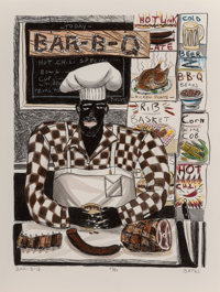 David Bates (American, b. 1952) Bar-B-Q (Friday Catfish), 1982 Lithograph with hand coloring on wove paper 28-3/4 x 2