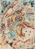 Works on Paper, Robert Preusser (American, 1919-1992). Composition #7 (Southwest Abstract), 1937. Watercolor on paper. 19-7/8 x 13-7/8 i...