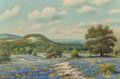 Paintings, William Robert Thrasher (American, 1908-1997). Hillside Bluebonnets. Oil on canvas. 24 x 36 inches (61.0 x 91.4 cm). Sig...