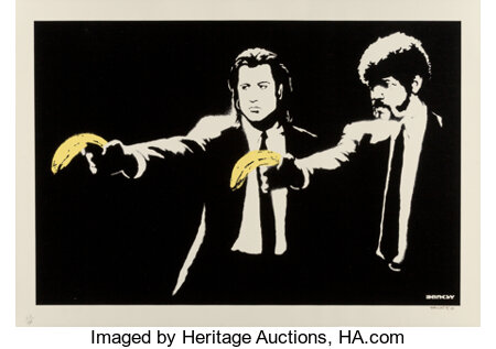 Banksy (b. 1974) Pulp Fiction, 2003 Screenprint in colors on paper 19-1/8 x 27-1/2 inches (48.6 x 69.9 cm) (sheet) E...