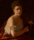 Paintings, Friedrich Kraus (German, 1826-1894). Woman in an interior. Oil on canvas. 29 x 23 inches (73.7 x 58.4 cm). ...