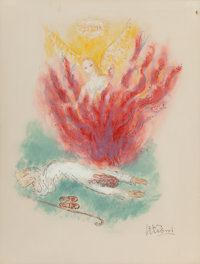 Reuven Rubin (1893-1974) Moses and the Burning Bush from Visions of the Bible, 1972 Ink, marker, pastel, and gouac