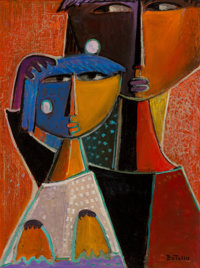 Angel Botello (1913-1986) Mother and Child, circa 1980 Oil on panel 16 x 12 inches (40.6 x 30.5 c