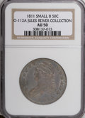 Bust Half Dollars, 1811 50C Small 8 AU50 NGC. O-112A, Ex: Jules Reiver Collection.PCGS Population (15/120). (#6097)...